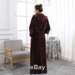 Lovers Thermal Hooded Extra Long Flannel Bathrobe Women Men Thick Warm Winter Ki