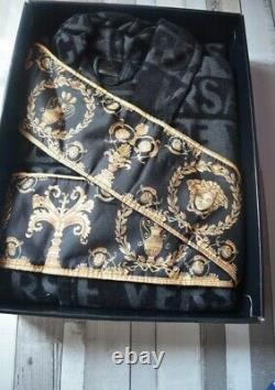 Luxury Dressing Gown Barocco Bathrobe Unisex Mens Robe Black & Gold Large