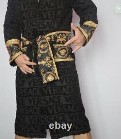 Luxury Dressing Gown Barocco Bathrobe Unisex Mens Robe Black & Gold Small