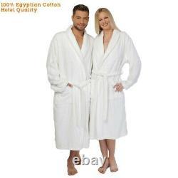 Luxury Egyptian Cotton Shawl Collar Bathrobe Unisex Dressing Spa Gown Terry