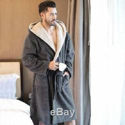 Luxury Men's Winter Warm Soft Hooded Robe Long Bathrobes Comfort Gift For Him