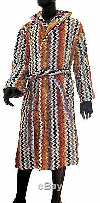MISSONIHOME HOODED BATH ROBE VELOUR MASTER MODERNO COLLECTION PAUL 156 Sz L