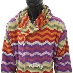 MISSONI HOME HOODED BATH ROBE PETE 156 LARGE branded pack 100% COTTON VELOUR