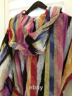 MISSONI Hooded Bathrobe Men Women HOMER Velvet M 100% Cotton Portugal NEW