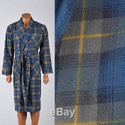 Medium Vintage 1960s 60s Mens Robe Cotton Flannel Blue Green Plaid Lounge Bath