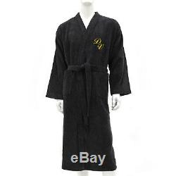 Men Bath Robe Personalized Monogram 100% Cotton Bathrobe Kimono Black-m, L, Xl, XXL