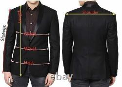 Men Black Long Smoking Jacket Robe De Chambre Quilted Velvet Cigar Coat Bathrobe