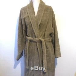 Men's Taupe Hermes Terry Cloth Bath Robe with Belt 85% Cotton 15% Silk Size S