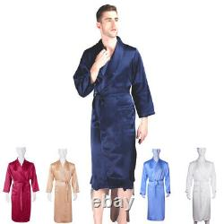 Mens 100% Mulberry Silk Bath Robes Night Dress Sleeping Gowns Nighties All Size