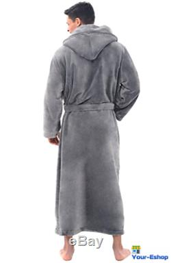 Mens Hooded Bath Robe Long Bathrobe Fleece Robes Lounge For Men Bathrobes Towel