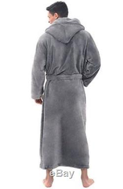 Mens Hooded Bath Robe Long Bathrobe Fleece Robes Lounge Hooded Towel 1XL 2XL