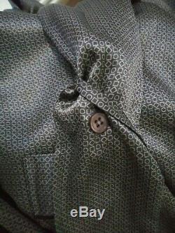 Mens Intimo Grey 100% Silk Bathrobe Shawl Collar Belt 3 Pockets Unisex Large