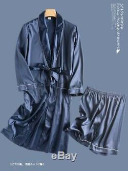 Mens Long Sleeved bathrobe Summer nightgown Silk pajamas Nighty nightclothes New