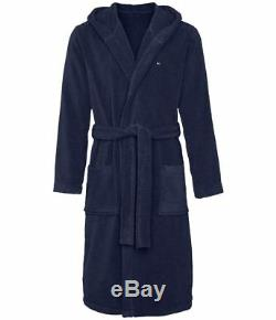 Mens Tommy Hilfiger Icon Hooded Bathrobe/ Dressing Gown Micro Cotton Towelling
