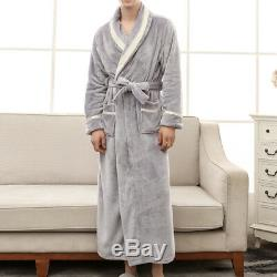 Mens Winter Lengthened Plush Shawl Bathrobe Home Sleepwear Robe Coat USA
