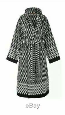 Missoni Home 100% Cotton Black and White Viggo Bathrobe, Size M New