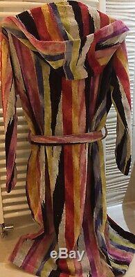 Missoni Stripe Hooded Bathrobe Robe Dressing Gown 100% Cotton Unisex Xs /x Small