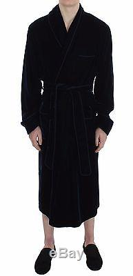NEW $1200 DOLCE & GABBANA Robe Nightgown Blue Velvet Bathrobe Sleepwear IT5 / M