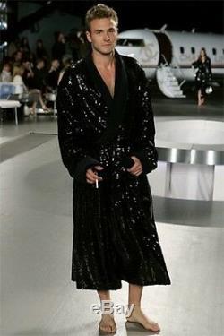 NEW Chanel 2008 Unisex Sequin Bathrobe Coat Navy Blue 2 S Small Cotton Blend
