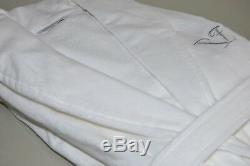 NEW FRETTE Shawl Collar Robe Bathrobe Silver EMBROIDERED LOGO Velour White M
