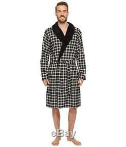 NWT UGG Men's KALIB Plaid Flannel Plush Bath Robe BLACK M/L RETAIL-$170