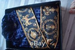 New Bathrobe Unisex With Versace Medusa Symbol Blue with Gold Size L with Box