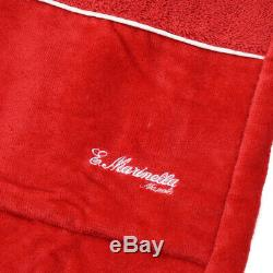 New E. MARINELLA NAPOLI Red French Terry Belted Cotton Bathrobe L Robe + Box