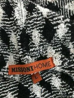 New MISSONI Home Black/White Viggo Robe/ Bathrobe