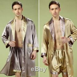 New Mens 100% Pure Mulberry Silk Robe Sleepwear Bathrobe Shorts 2 piece Casual