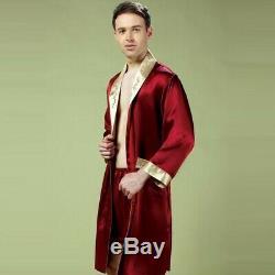 New Mens 100% Pure Mulberry Silk Robe Sleepwear Bathrobe Shorts 2 piece Casual