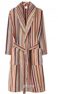 New Paul Smith Signature Stripe Towelling Dressing Gown Bath Robe Size M