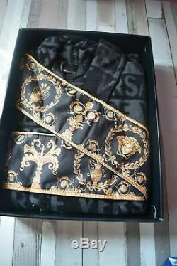 New Robe Versace Medusa Symbol Bathrobe 100% Cotton Black & Gold With Box