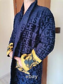 New Soft Bathrobe Blue with Versace Symbol 100% Cotton XXL, XL, L, M Perfect gift