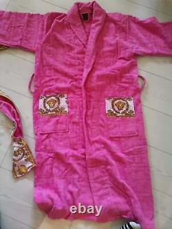 New Soft Unisex Bathrobe 100% Cotton with Versace Symbol Pink Color Size XL, L, M