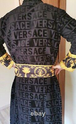 New Versace Bathrobe XXL 100% Soft Cotton Black with Gold With Gift Box