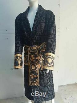 New Versace Symbol Bathrobe 100% Cotton Black and Gold with Gift Box