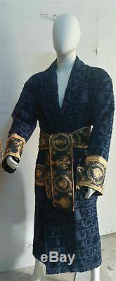 New Versace Symbol Bathrobe 100% Cotton Blue and Gold with Gift Box