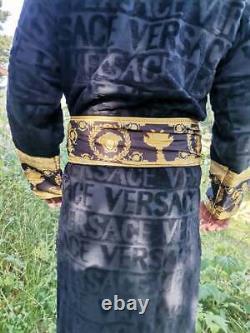 New Versace Symbol Bathrobe Black 100% soft Cotton with Gift Box Size XXL