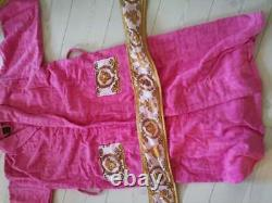 New Versace Symbol Bathrobe Pink 100% soft Cotton with Gift Box Size XL