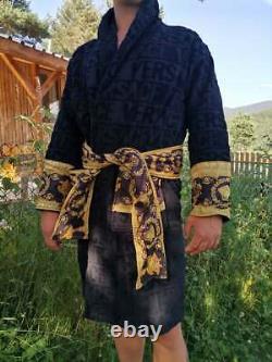 New Versace Symbol Unisex Bathrobe Black 100% soft Cotton Size XL