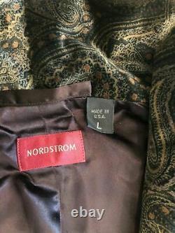 Nordstrom Men's Bathrobe Heavyweight Velour Paisley 100% Cotton New / USA Made