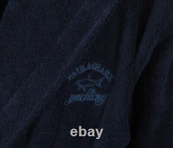 PAUL & SHARK YACHTING Men's Bathrobe Beach Robe Size XL 100% Cotton Blue