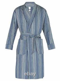 PAUL SMITH Signature Blue Stripe Dressing Gown Bath Robe pyjama LARGE (L)