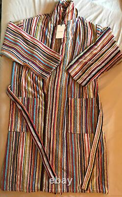 PAUL SMITH Signature Multi Stripe Dressing Gown Bath Robe Medium New With Tag