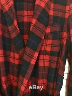 PENDLETON Mens Sz MEDIUM Bath Robe Red Blue Green Check Plaid 100% Wool MADE USA