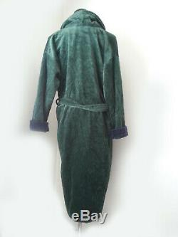POLO Ralph Lauren Cotton Bath Robe with Crest Green with Blue NWT 50 Long