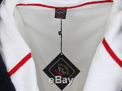Paul & Shark Yachting men's bathrobe size 6XL hood 100% cotton white pockets