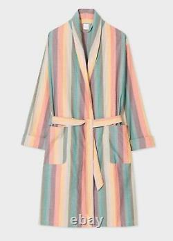 Paul Smith Multi Artist Stripe Dressing Gown Bath Robe Coloured Cotton Small Nwt