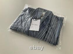 Paul Smith Signature Multi Stripe Dressing Gown Bath Robe Blue Cotton Large Nwt