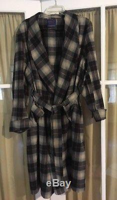 Pendleton 100% Wool Bath Lounge Robe Mens XXL Black Grey Plaid Washable Bathrobe